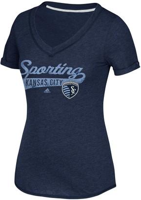 adidas Women's Navy Sporting Kansas City Tail Stack V-Neck T-Shirt