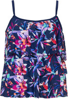 Maxine Of Hollywood Plus Size Patterned layered tankini top