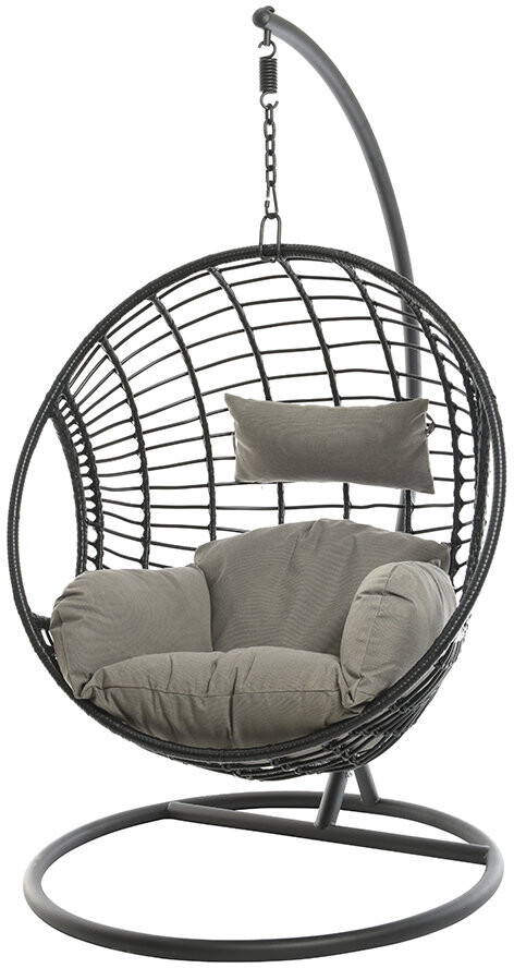 AMARA Outdoors - Circle Wicker Hanging Chair - Black
