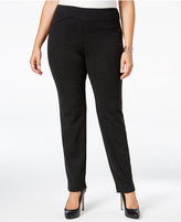 Charter Club Plus Size Cambridge Ponte Houndstooth Slim-Leg Pants, Only at Macy's