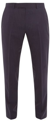 Dunhill Straight-leg Pinstriped-wool Trousers - Mens - Navy