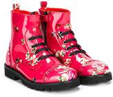 Dolce & Gabbana floral zip-up boots