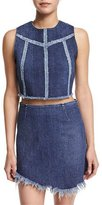 KENDALL + KYLIE Sleeveless Seamed Jean Crop Top, Denim