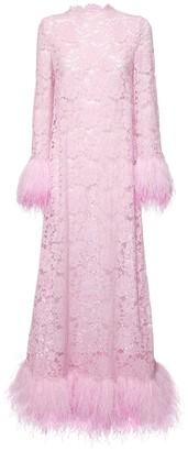 Dolce & Gabbana Embellished Lace Long Dress W/ Feathers