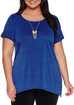 Alyx Short-Sleeve Sharkbite Top with Necklace - Plus