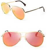 Wildfox Couture Airfox II Deluxe Mirrored Aviator Sunglasses, 57mm