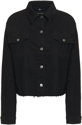 7 For All Mankind Bead-embellished Frayed Denim Jacket