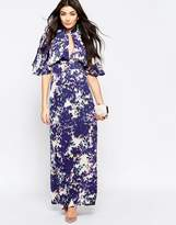 Liquorish Maxi Dress With Kimono Sleeves In Blurred Floral Print