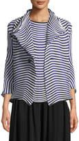 Issey Miyake One-Button Dot-Stripe Jacket