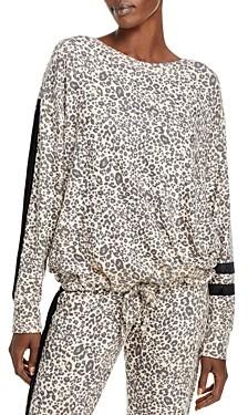 Vintage Havana Velvet Trim Leopard Print Sweatshirt