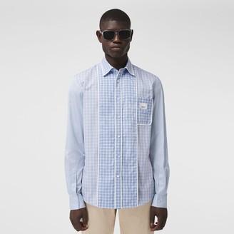 Burberry Logo Applique Contrast Check Cotton Shirt