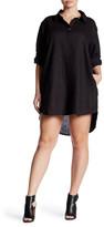 Allen Allen Linen Split Neck Shirt Dress (Plus Size)