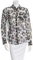 Equipment Printed Silk Button-Up Top