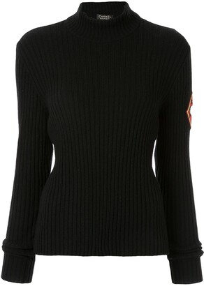 Chanel Pre Owned Ribbed Mock Neck Jumper