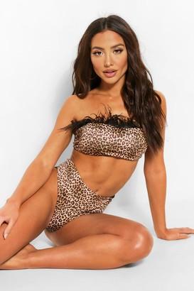 boohoo Feather Trim Leopard Bandeau Bikini