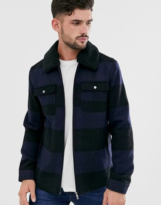 ONLY & SONS brushed check wool jacket with removable fleece collar