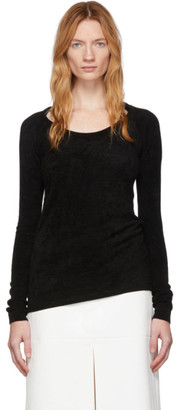 we11done Black Velvet Round Neck Sweater