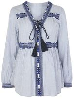 Topshop Maternity stripe embroidered smock top