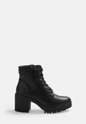 Missguided Black Mid Heel Cleated Sole Hook And Eye Detail Ankle Boots