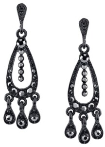 Downton Abbey Black-Tone Belle Epoch with Pave Hematite Color Stones Chandelier Earrings