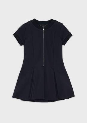 Emporio Armani Short-Sleeved, Flared, Zippered Dress