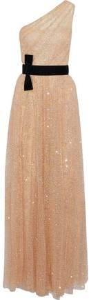 Marchesa One-Shoulder Velvet-Trimmed Glittered Tulle Gown