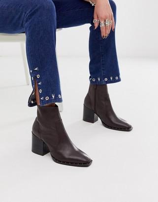 Asos Design DESIGN Restore leather studded block heel boots in brown