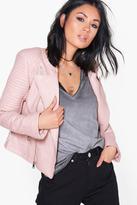 boohoo Eleanor Boutique Faux Leather Biker Jacket pink