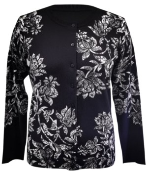 Karen Scott Petite Lace Floral Cardigan, Created for Macy's