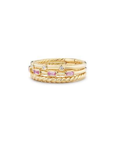 David Yurman Novella 18k Three-Row Ring w/ Pink Sapphires, Size 7