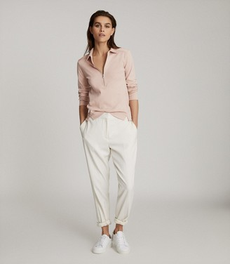 Reiss FERNANDA ZIP NECK POLO SHIRT Blush