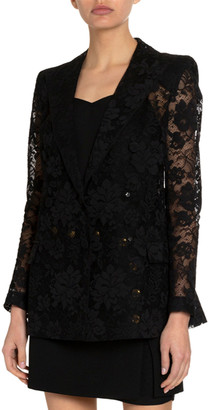 Givenchy Floral Lace Double-Breasted Blazer