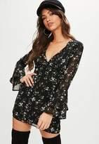 Missguided Black Floral Chiffon Dress
