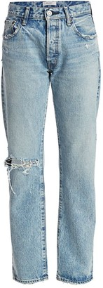 Moussy Hesperia Distressed Straight-Leg Jeans