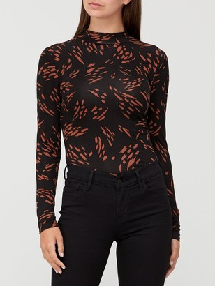 Very Long Sleeve Turtle Neck T-Shirt - Animal Print