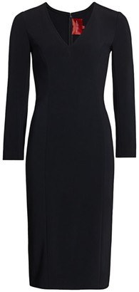 Carolina Herrera Icon V-Neck Crepe Sheath Dress