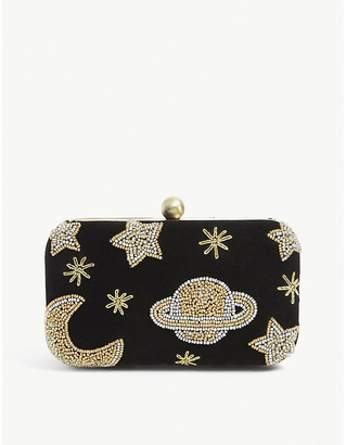 From St Xavier Galileo Box embellished velvet clutch bag