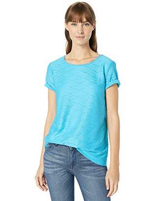 Calvin Klein Women's Textured Stripe Short Sleeve TOP
