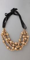 Amanda Pearl Gold Wood Bead Necklace