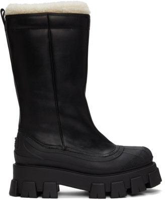 Prada Black Shearling Winter Boots