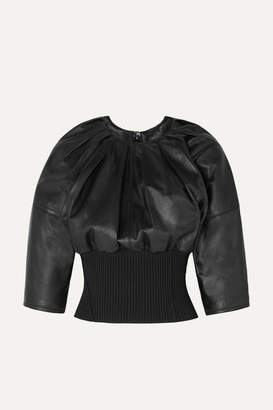 3.1 Phillip Lim Ribbed Knit-trimmed Gathered Leather Top - Black