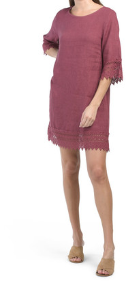 Made In Italy Crochet Trim Linen Dress