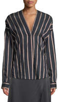 Vince Textured Striped Long-Sleeve Blouse
