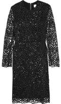 Iris and Ink Ray Sequined Laser-Cut Cady Mini Dress