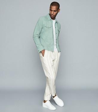 Reiss Mist - Linen Blend Pleat Front Trousers in Sand