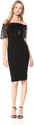 Calvin Klein Women's Sequin Pop Over Off-The-Shoulder Sheath Dress