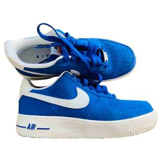 Nike Force 1 Blue Leather Trainers