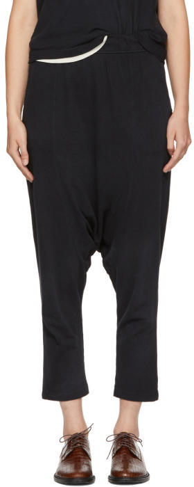 Raquel Allegra Black Cropped Slouchy Lounge Pants