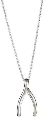 FINE JEWELRY Sterling Silver Rhodium High Poilished Wish Bone 18 Pendant Necklace