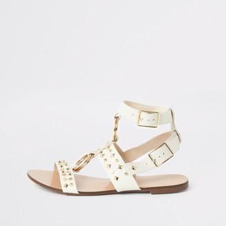River Island Womens White studded gladiator sandals